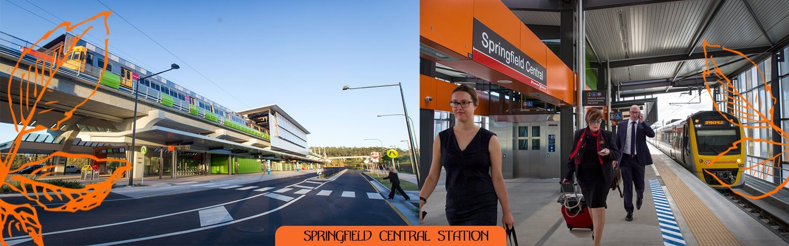 Springfield Central Railway Station is the terminus station of the Springfield line in Queensland, Australia. It serves Springfield Central and other nearby suburbs in the City of Ipswich.